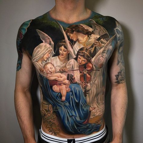 Colorful Realistic Angels and Jesus Christ tattoo created by American artist Brent Olson tattoos Realistic Angels and Jesus Christ tattoo