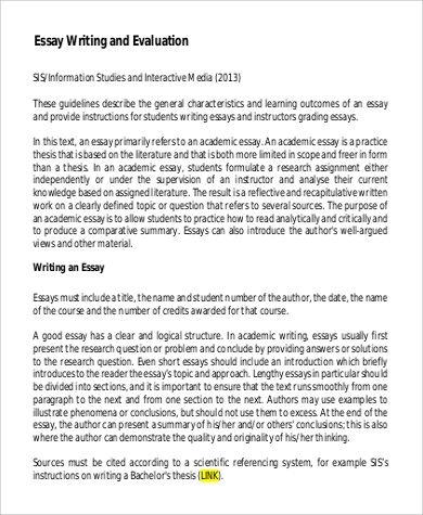 Evaluation Essay Example In 2021 Essay Examples Essay Grading Essays