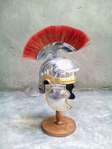 Medieval Roman Centurion Helmet Armor red Crest Plume Gladiator Costume Armor