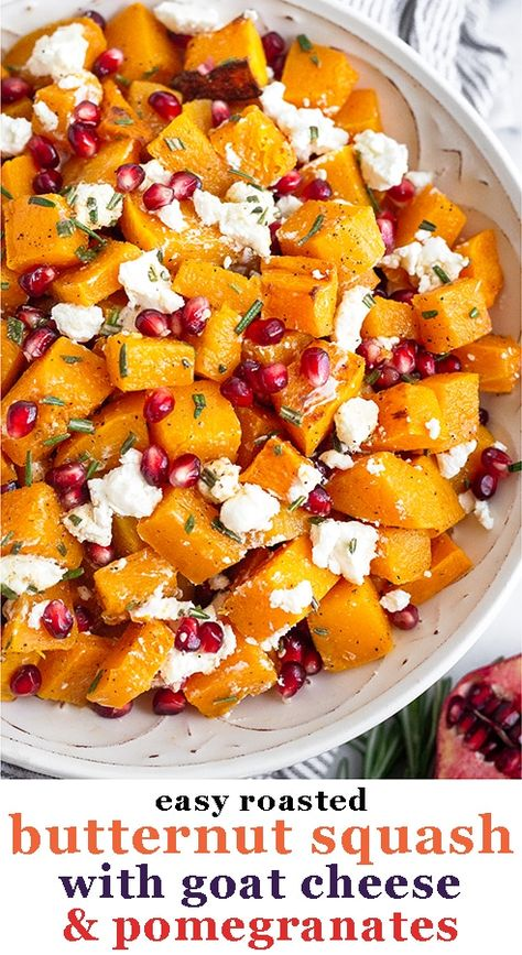 Roastedbutternut squash combined with goat cheese, pomegranates, and rosemary makes an absolutely delicious, simple, and flavorful dish. It makes a healthy Thanksgiving and holiday side dish or is perfect for weeknight meals for fall and winter. Gluten-freeand vegetarian.