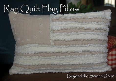 Betsy Ross Flag Pillow Rag Quilt Style
