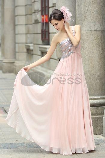 Abiti in Magazzino-Spalla abito da sera in chiffon rosa