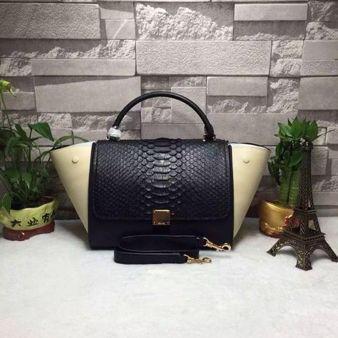 9f2b5e9ebb Celine Calfskin and Python Medium Trapezre Tote Bag Black Off-White ...