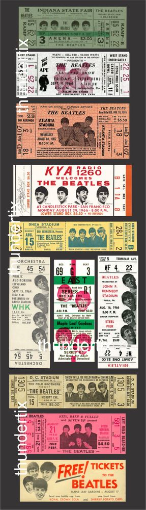 400 Scrapbooking Ideas Beatles Vintage Concert Tickets Rock Concert