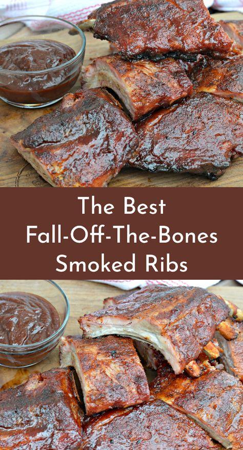 How To Make Delicious Smoked Ribs - My Latina Table Learn how to make delicious, fall-off-the-bone smoked ribs using your Traeger wood pellet grill. Smoked Rib Tips Recipe, Rib Roast Recipe, Smoked Meat Recipes, Roast Recipes, Mexican Food Recipes, Traeger Recipes, Traeger Smoked Ribs Recipe, Pork Rib Recipes, Healthy Recipes