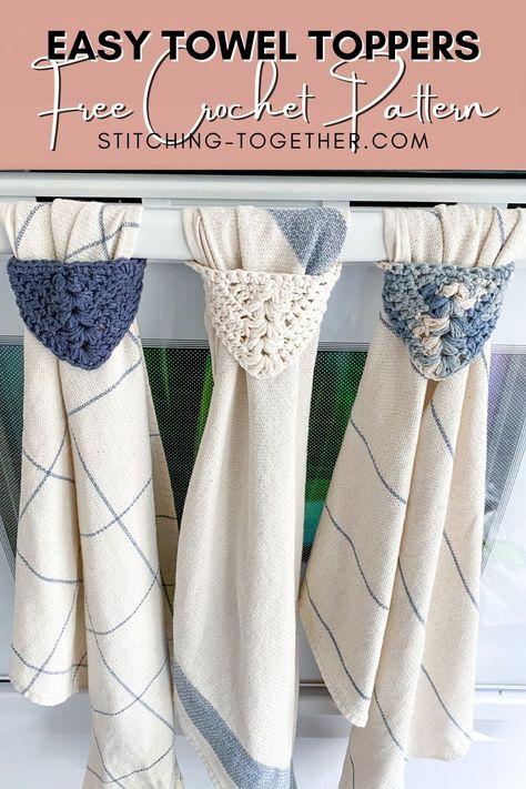 Crochet Dish Towels, Crochet Towel Topper, Crochet Kitchen Towels, Crochet Dishcloths, Crochet Stitches, Kitchen Towels Crafts, Kitchen Towels Hanging, Hanging Towels, Crochet Edgings