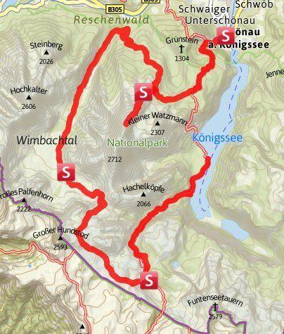 Karte Die Watzmanntour Die Vielleicht Schonste Und Vielseitigste Wanderung Von Hutte Zu Hutte Im Nationalpark Berchtes Wandern Alpen Wanderung Huttentouren