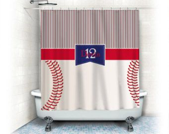 Baseball Shower Curtain Etsy Baseball Shower Curtains