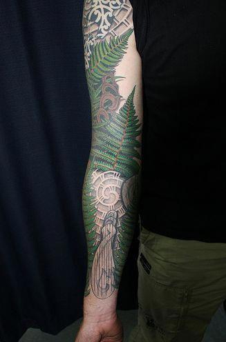 Linework Tattoo Sleeve Sleevetattoos Sleeve Tattoos Best Sleeve Tattoos Fern Tattoo