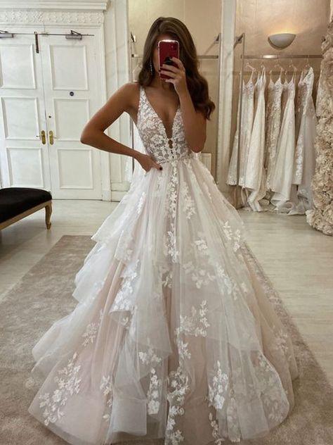 Ivory Lace Wedding Dresses 2020
