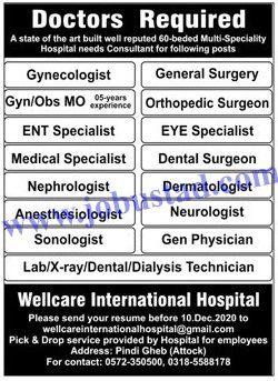 Doctors Jobs In Attock 2020 Wellcare International Hospital Attock Jobs 2020 Hospital Jobs Dental Surgeon Hospital Doctor