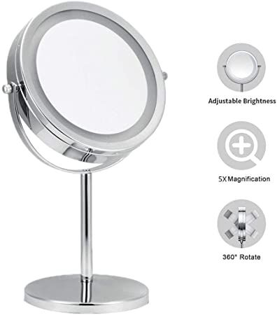 Tabletop Makeup Mirror With Lights 1x 5x Magnification Double Sided Round Shape 360 Amp In 2020 Makeup Mirror With Lights Mirror With Lights Wall Mounted Makeup Mirror