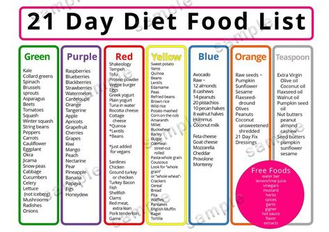 21 day diet Meal Plan Food list Shopping List Printable | Etsy