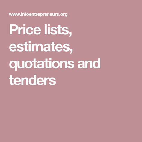 Price Lists Estimates Quotations And Tenders  Marketing  Seo