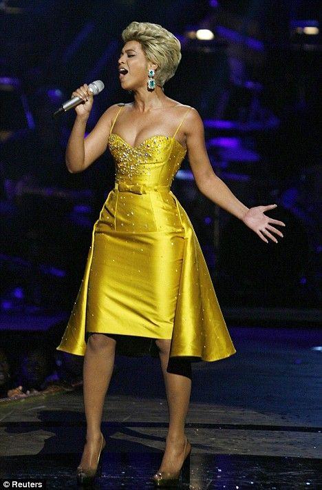 Beyonce, yellow jewelled dress singing Etta James - At Last