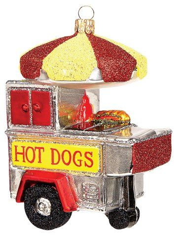 HOT DOG GLASS CHRISTMAS ORNAMENT MUST SEE