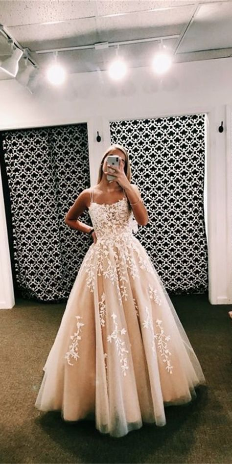 A Line Spaghetti Straps Appliques Tulle Prom Dresses - Gowns . Pretty Prom Dresses, Hoco Dresses, Tulle Prom Dress, Quinceanera Dresses, Ball Dresses, Cute Dresses, Beautiful Dresses, Lace Dress, Dresses For Balls