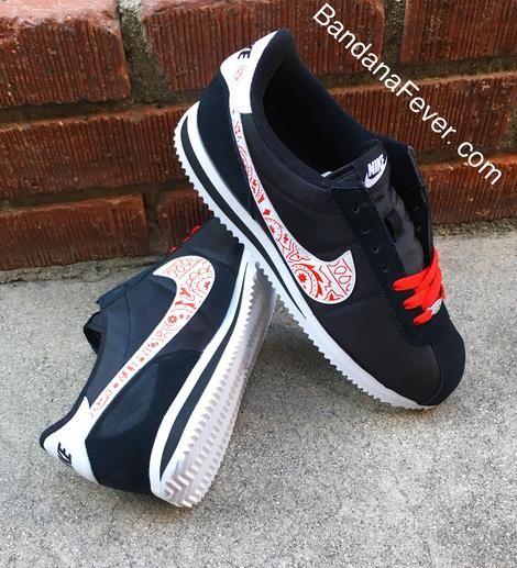 183ee85f Bandana Fever Red Bandana Print Custom Black/White Nike Cortez Shoes – Bandana  Fever Designs