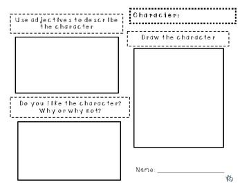 Character Analysis Graphic Organizer Write And Draw  Education