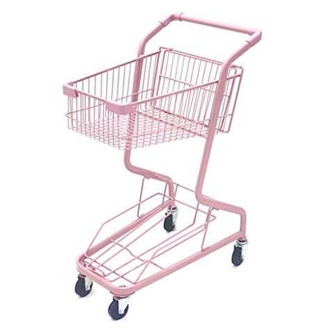 Shopping cart hand Push car double-layer KTV supermarket 4 wheel pink, household metal wheeled children mini shopping basket | Green Lawn & Garden Store