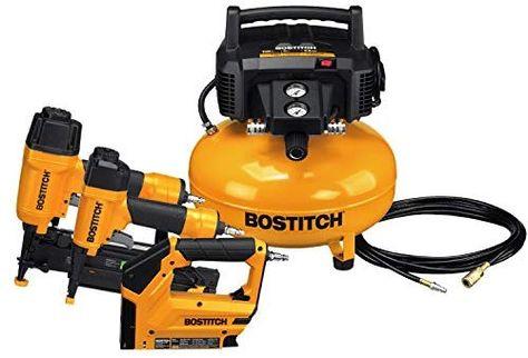 Amazon Com Bostitch Btfp3kit 3 Tool Portable Air Compressor Combo Kit Home Improvement Combo Kit Portable Air Compressor Electric Air Compressor