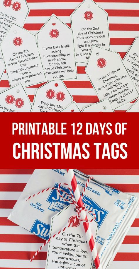 Sweet Simple 12 Days Of Christmas Printable Tags Gift Ideas Christmas Tags Printable Christmas Poems 12 Days Of Christmas