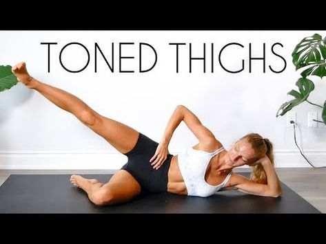 The ultimate thigh toning workout! A 15 minute, equipment free, at home workout to target your inner and outer thighs! 👉🏼THE MAT I USE (Exercise http:/. Thigh Toning Exercises, Toning Workouts, Tone Thighs, Outer Thighs, Workout Songs, Workout Videos, Home Exercise Routines, At Home Workouts, Video Sport