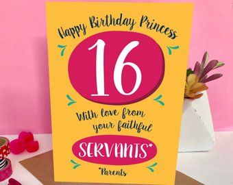 Funny Sweet 16 Birthday Card For Daughter 16th Birthday Card Paper Gifts Funny Cards