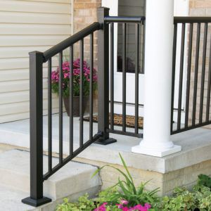 Winchester Mix N Match Ready To Assemble Aluminum Stair Rail Kit | Lowes Exterior Stair Railing | Composite Decking | Matte Black Aluminum Railing | Railing Systems | Metal | Porch