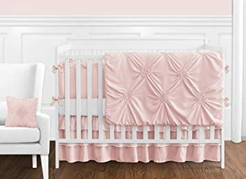 Solid Color Blush Pink Shabby Chic Harper Baby Girl Crib Bedding Set With Bumper By Sweet Jojo Review Pink Crib Bedding Baby Girl Crib Bedding