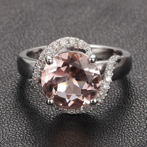Pave Diamond Halo Ring 14K White Gold 8mm Round Morganite Engagement Ring Wedding Ring Swirl on Etsy, $535.00