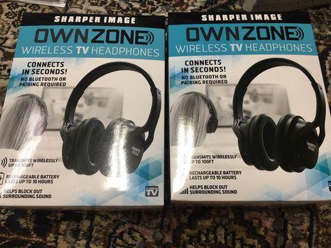 Sharper Image Ownzone Wireless Tv Headphones Black New Item 30603
