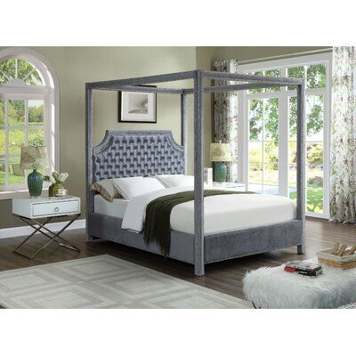 Rosdorf Park Emet Upholstered Canopy Bed Size King Color Gray Queen Canopy Bed Canopy Bedroom Sets Meridian Furniture