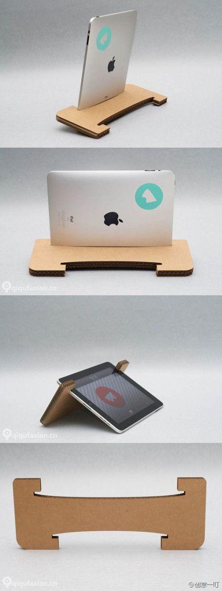 Facile à réaliser, ce support pour tablette est composé de seulement de plaques de carton encollées l'une sur l'autre. Top ! #DIY #DoItYourself #Tablette