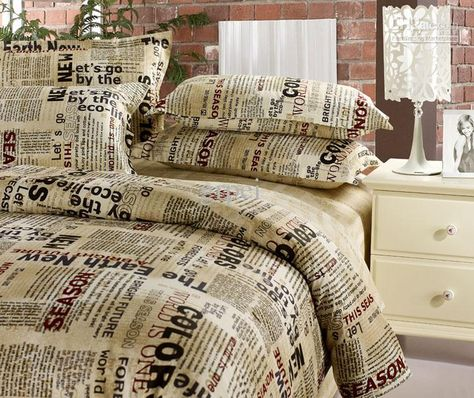 Wholesale Queen Size Newspaper Bedding Set Bed In A Bag English