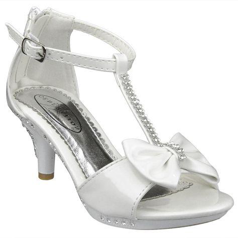 Generation Y Kids Dress Sandals Flower Rosette Rhinestone Adjustable Ankle Strap Silver