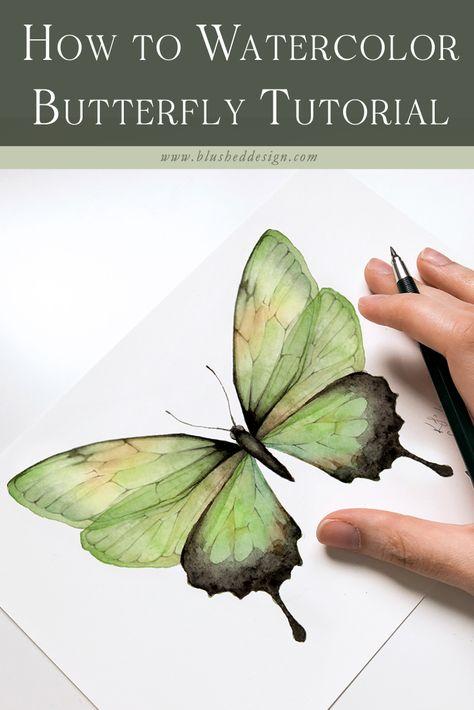 Watercolor Flowers Tutorial, Butterfly Watercolor, Butterfly Painting, Watercolour Tutorials, Butterfly Art, Watercolor Flower Painting, Watercolor Leaves, Butterflies, Monarch Butterfly