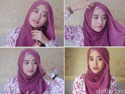 Tutorial Hijab Segi Empat Ditali Kebelakang Pesta Pernikahan Wanita Cantik Hijab