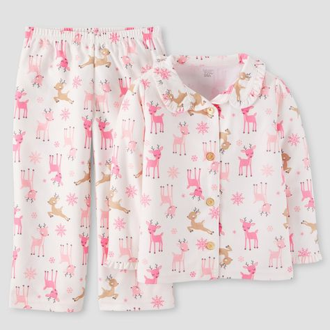 5c7af32e55 Toddler Girls  Reindeers Pajama Set - Just One You Made by Carter s Pink White  18M