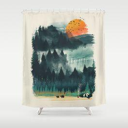 Wilderness Camp Shower Curtain Camping Art Art Prints Art