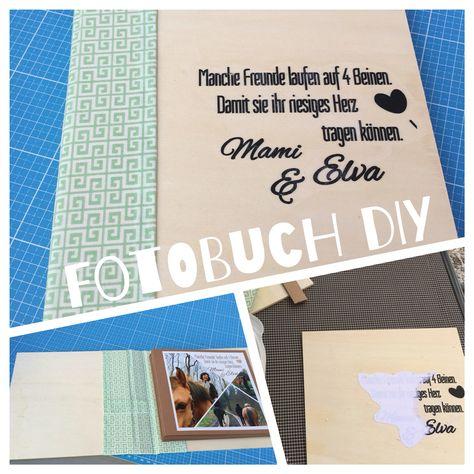 """Fotobuch DIY Fotobuch aus Sperrholz, mocca-farbener Pappe und grün gemusterten Stoff. Sperrholz im Baumarkt zuschneiden lassen, Stoff so zuschneiden, dass er ca 4 cm überlappt und man ein Stück Pappe als Buchrücken einarbeiten kann.  Mit Sprühkleber die """"Nahtzugabe"""" umklappen und fest kleben. Ein Pappe-Buch herstellen, und dieses mit der letzten Seite auf das Sperrholz kleben. Auf dem Deckel habe ich die Fototransfer-Technik angewandt. :) Siehe auch…"""