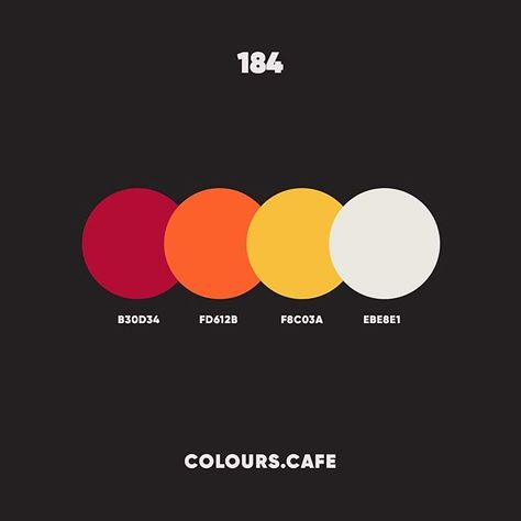 "Colours/Colors cafe on Instagram: ""#colour184 . #b30d34 #fd612b #f8c03a #ebe8e1 . #colors #color #colours #colour #palette #colorscheme #colourscheme #ui #colorful…"""