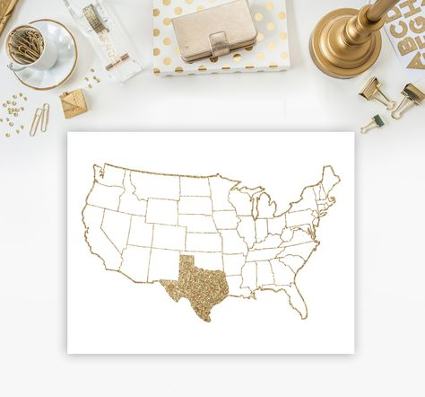Gold Map Print Gold Glitter Map Printable Gold Us Map Printable - Map of gold in us