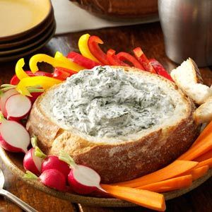 Spinach Dip in a Bread Bowl Recipe from Taste of Home -- shared by Janelle Lee of Appleton, Wisconsin
