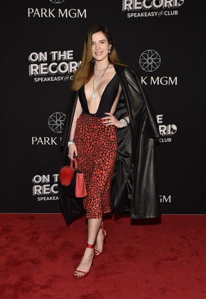 Actress Bella Thorne arrives at the grand opening celebration at On The Record Speakeasy and Club at Park MGM.