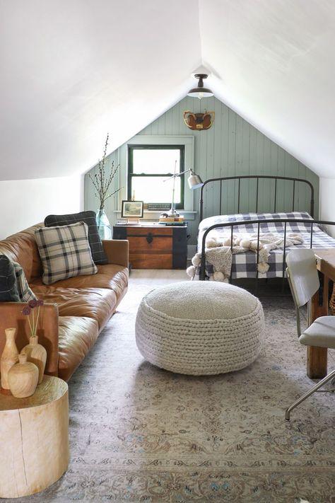 Home Interior Design .Home Interior Design Attic Bedroom Designs, Attic Bedrooms, Attic Design, Loft Design, Interior Design, Bedroom With Couch, Loft Bedroom Decor, Small Loft Bedroom, Log Home Bedroom