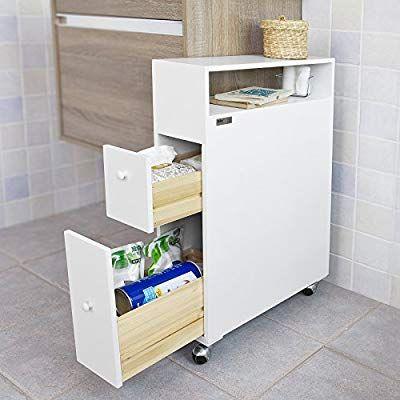 Sobuy Frg51 W Meuble De Rangement A Roulettes Wc Porte Papier Toilettes Porte Brosse Wc Armoire Roulante Avec 2 Tiroirs Blanc Am Nischenwagen Nischenregal