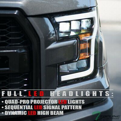 Ad Ebay Topline For 15 17 Ford F150 Full Led Sequential Tri Projector Headlights Black Projector Headlights Ford F150 Headlights