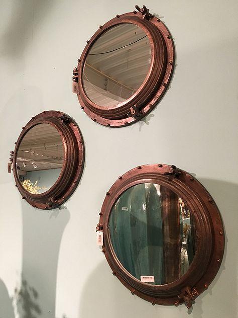 Patrijspoort ronde spiegel koperkleur bij Usi Maison