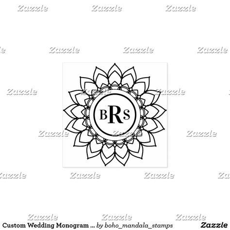Custom Wedding Monogram Boho Mandala